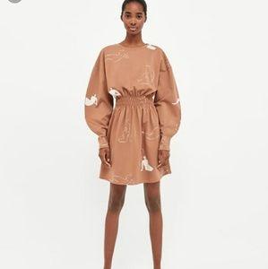 Zara woman print  long puffy sleeves mini dress